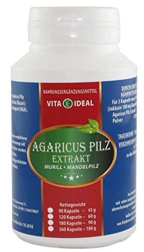 Agaricus Pilz Extrakt ABM Agaricus Blazei Murill Mandelpilz 90 Kapseln je 400 mg