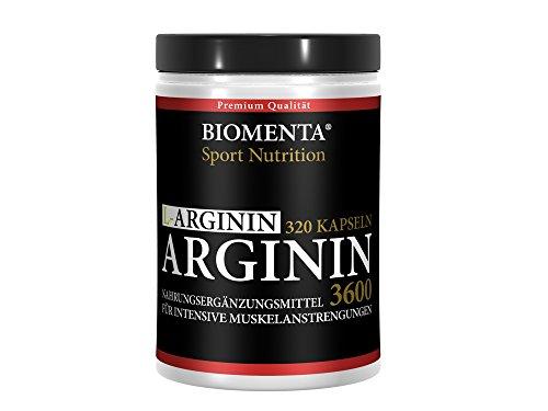 Biomenta L-Arginin 3600 hochdosiert – 320 St. für 3,5 – 4 Monate – allergikergeeignet – deutsche Qualität mit 913 mg L Arginin Pulver je Kapsel (3652 mg Tagesdosis), reines Arginine ohne Zusätze, für aktive Frauen und Männer